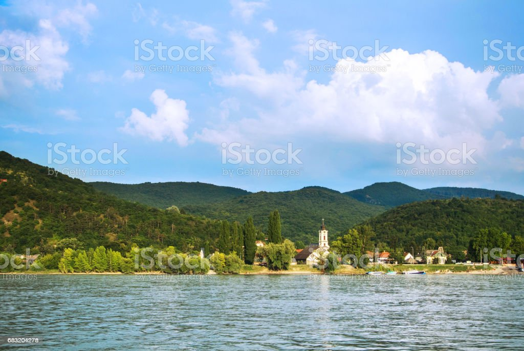 A view to a church at Visegrad, a small town at Hungary near Budapes, from Danube. royalty-free 스톡 사진