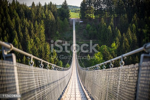Geierlay, view to a large suspension bridge of germany