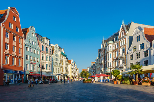 View to a shopping street in Rostock, Germany