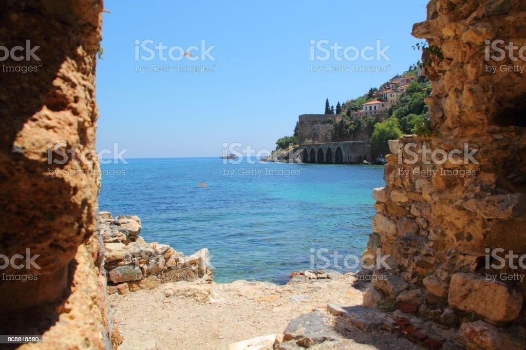 alanya Türkiye'de eski tersane için görüntüleyin stok fotoğrafı