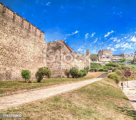 View to ancient wall and Trigoniu tower in Thessaloniki in Greece