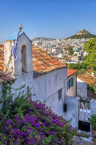 View to Athens city from Plaka neighborhood, Greece stock photo