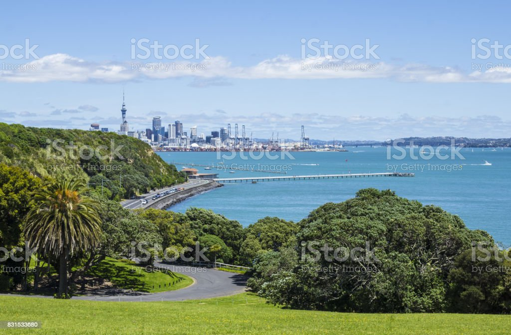 View to Auckland City from Mission Bay - New Zealand stock photo