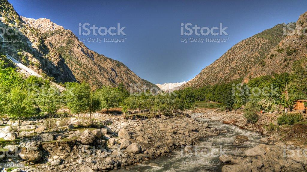 View to Bamboret river and Kalash valley, Chitral, Hindukush Pakistan stock photo