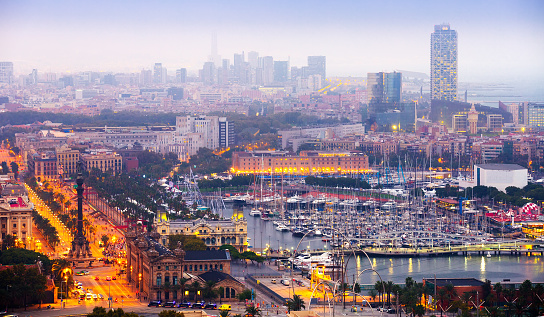 view to Barcelona and Port Vell in  evening