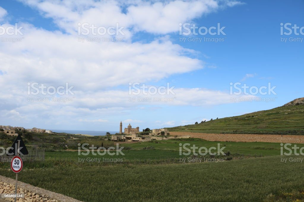View to Basilika ta' Pinu nearby Għarb Gozo in Malta, Mediterranean Sea - Royalty-free Archipelago Stock Photo