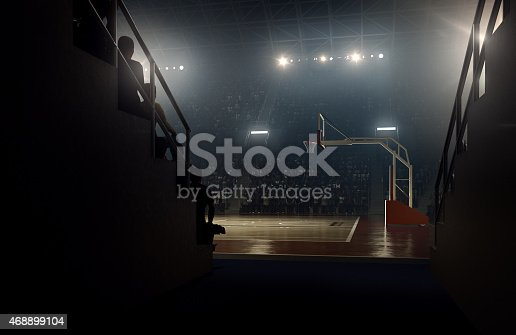 View to indoor floodlit basketball arena full of spectators - full 3D