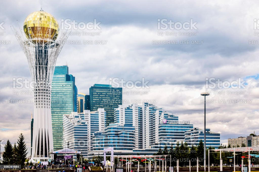View to Bayterek and Astana cityscape. capital city of Kazakhstan stock photo