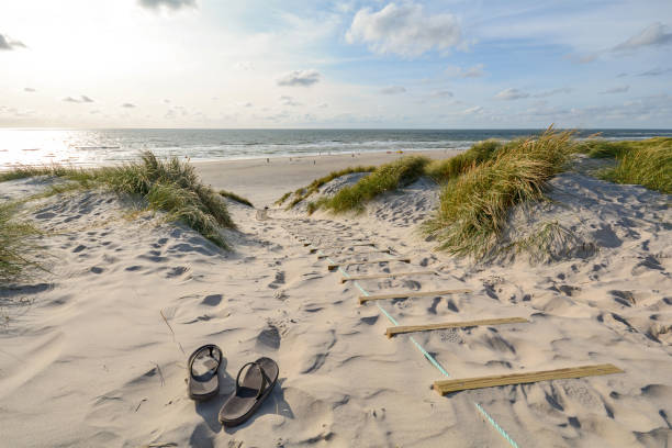 view to beautiful landscape with beach and sand dunes near henne strand, jutland denmark - denmark stock photos and pictures