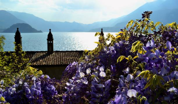 View to Bellagio peninsula and lake Como from Varenna in a hot spring day. stock photo