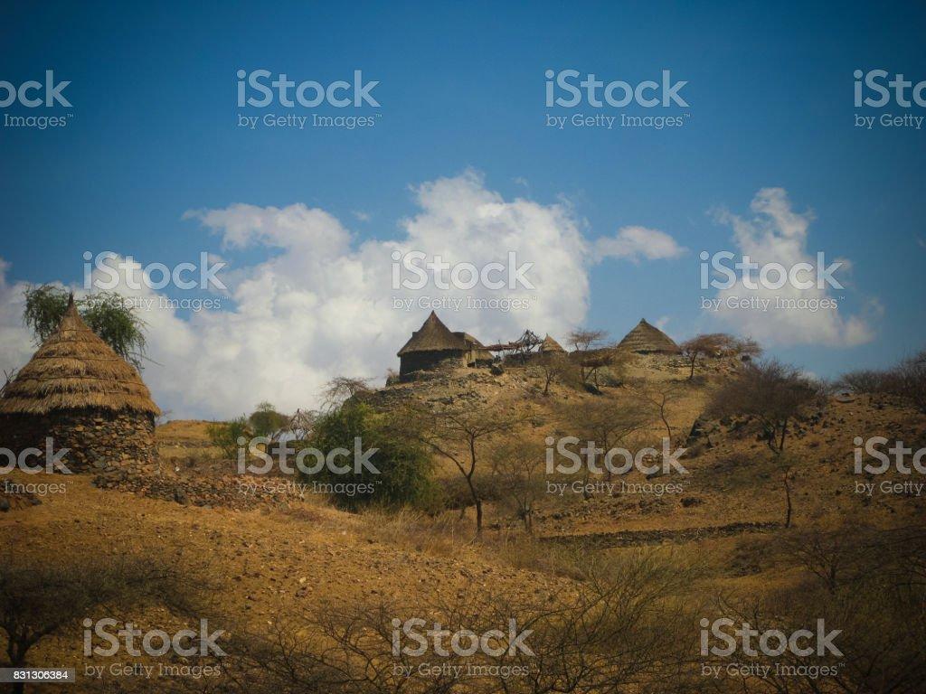 View to Bilen aka Bogo or Agaw tribe village, Keren, Anseba region,Eritrea stock photo