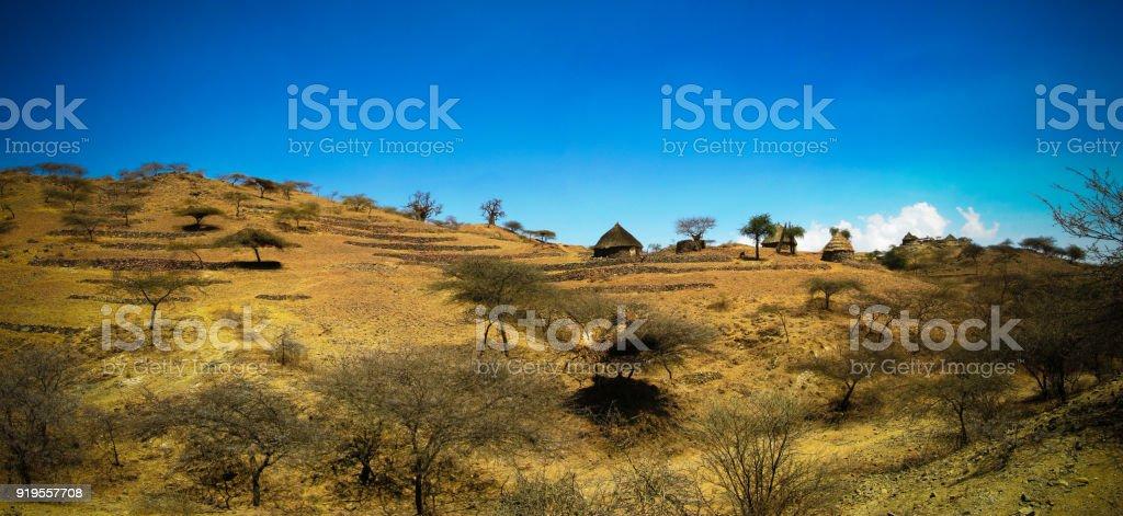 View to Bilen aka Bogo or Agaw tribe village near Keren, Anseba region,Eritrea stock photo