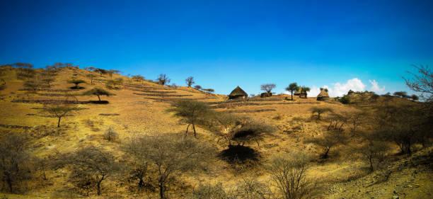 view to bilen aka bogo or agaw tribe village near keren, anseba region,eritrea - eritrea stock photos and pictures
