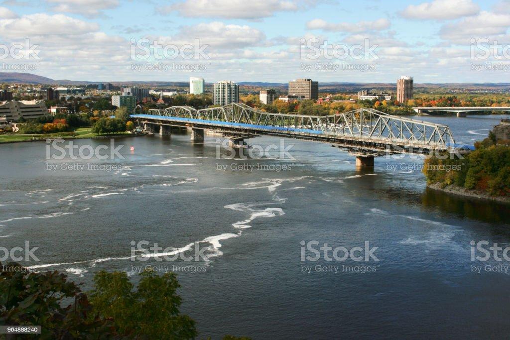 View to bridge over the Ottawa River royalty-free stock photo
