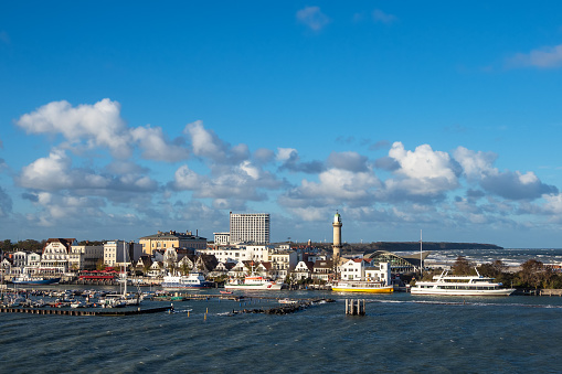 View to buildings and blue sky in Warnemuende, Germany