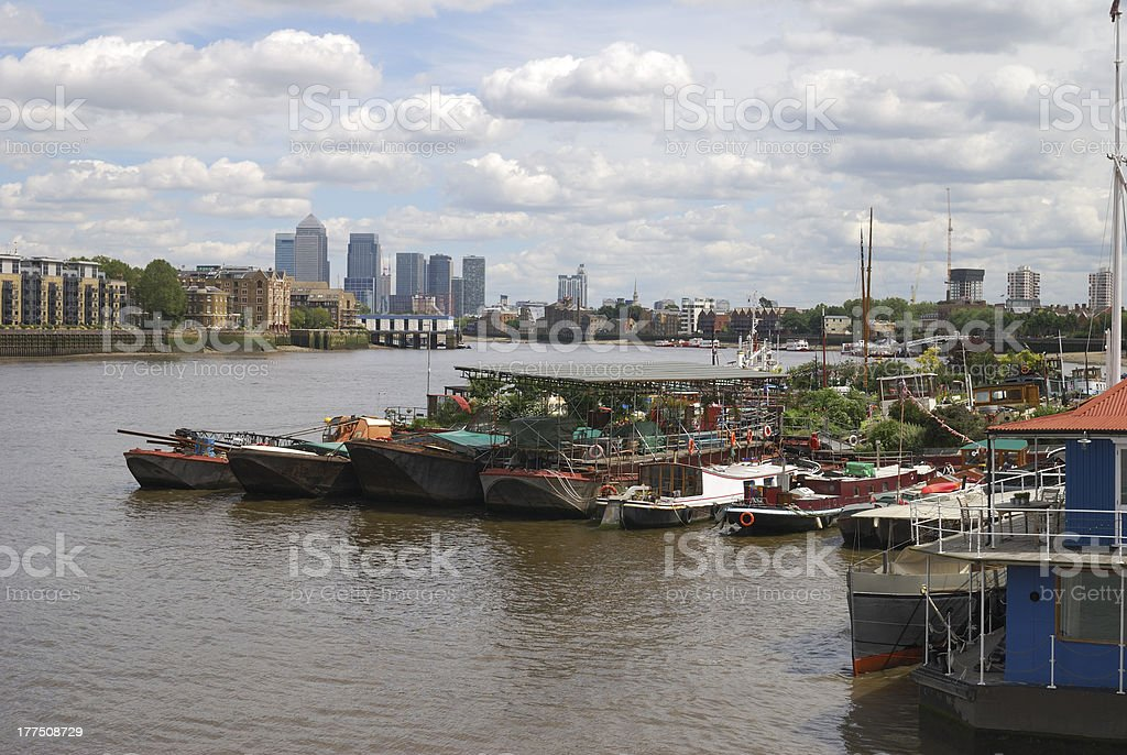 View to Canary Wharf from Southwark. London. UK stock photo