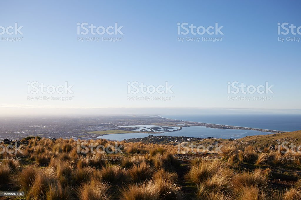 View to Christchurch from up hill pasture at sunset stock photo