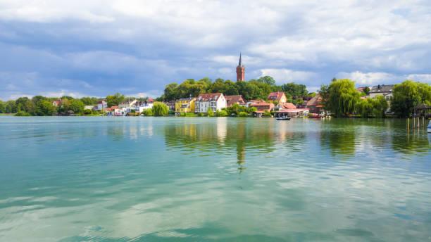view to church Feldberg or Feldberg Lake Landscape - Mecklenburg, Germany stock photo