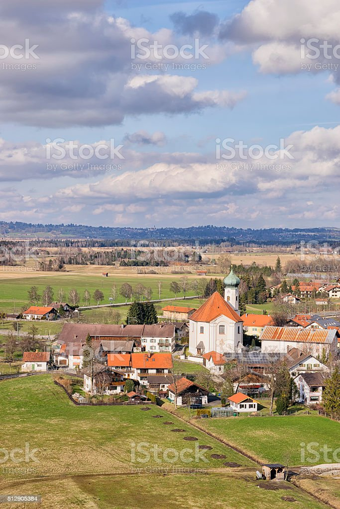 View to church in Bavaria stock photo