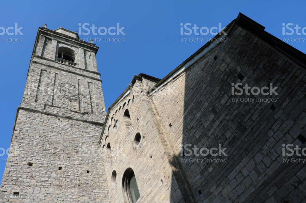 View to Church San Giacomo in Bellagio at Lake Como, Lombardy Italy stock photo