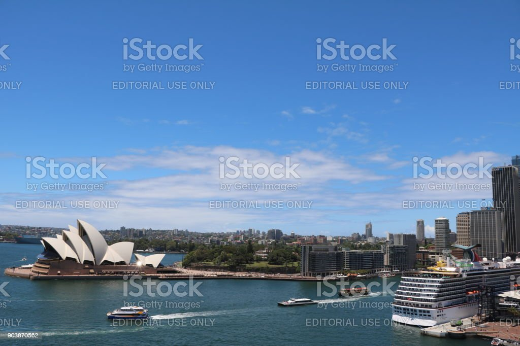 View to Circular Quay in Sydney, New South Wales Australia stock photo
