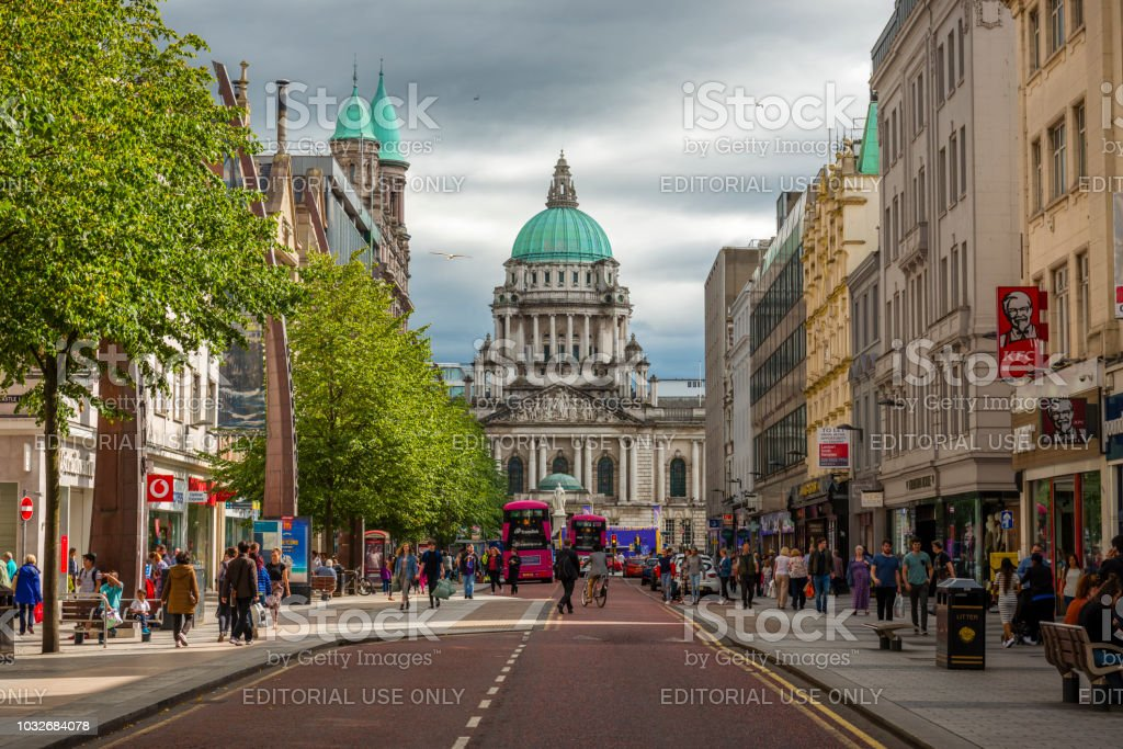 view to city hall in Belfast stock photo