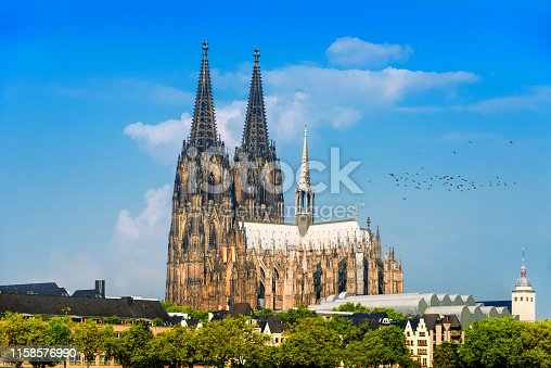 View to Cologne Cathedral and Hohenzollern bridge