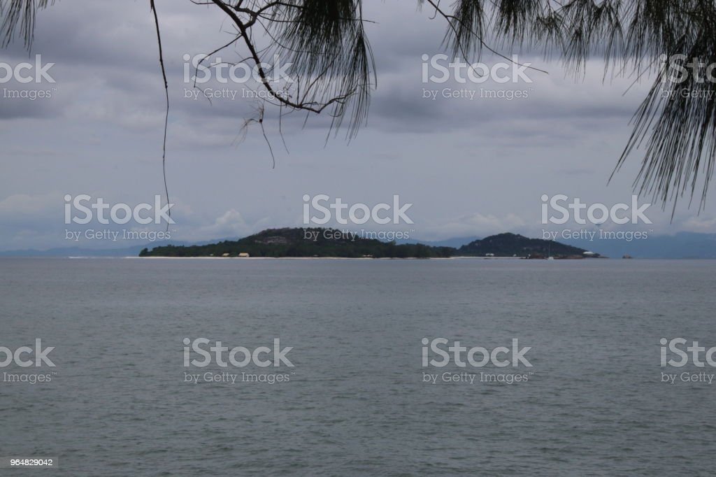 View to Cousin and Cousine Island,  Pointe Ste Marie, Praslin Island, Seychelles, Indian Ocean, Africa royalty-free stock photo