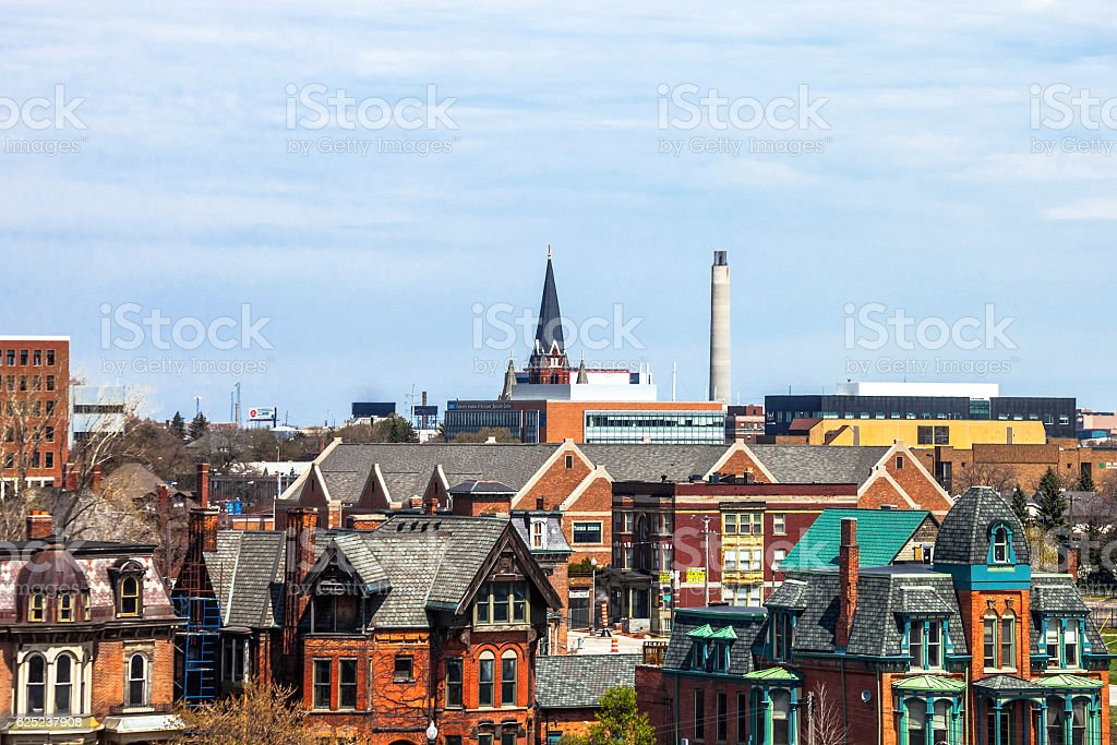 View to Detroit, Michigan. stock photo