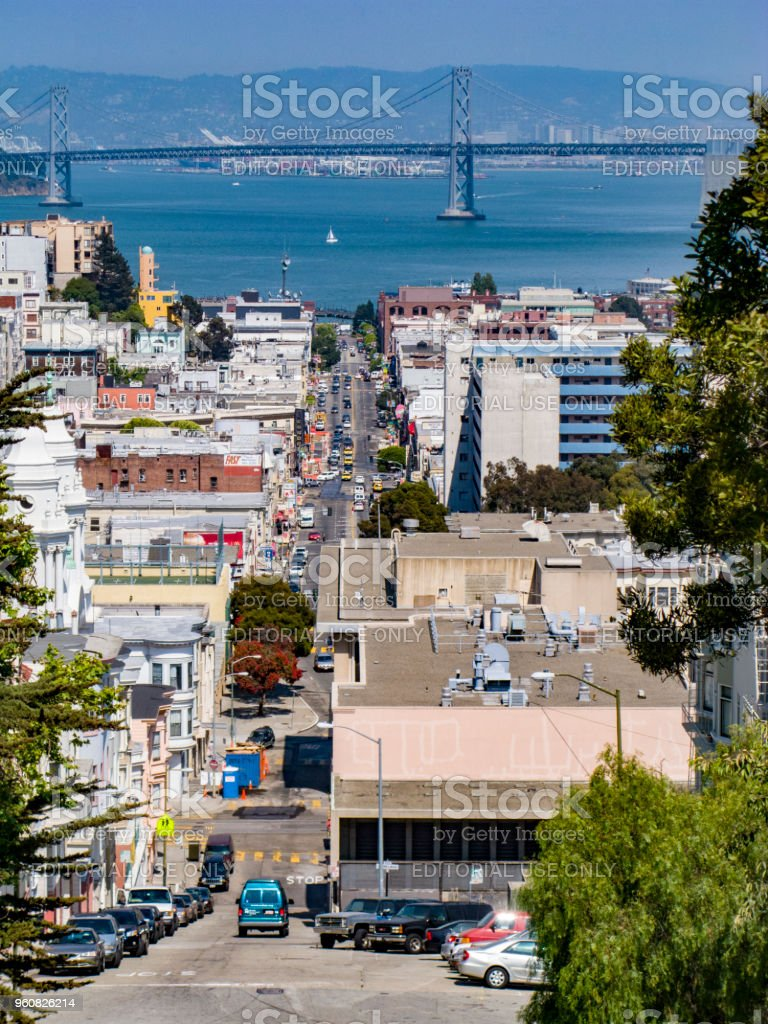 view to downtown San Francisco with streets and golden gate in background stock photo