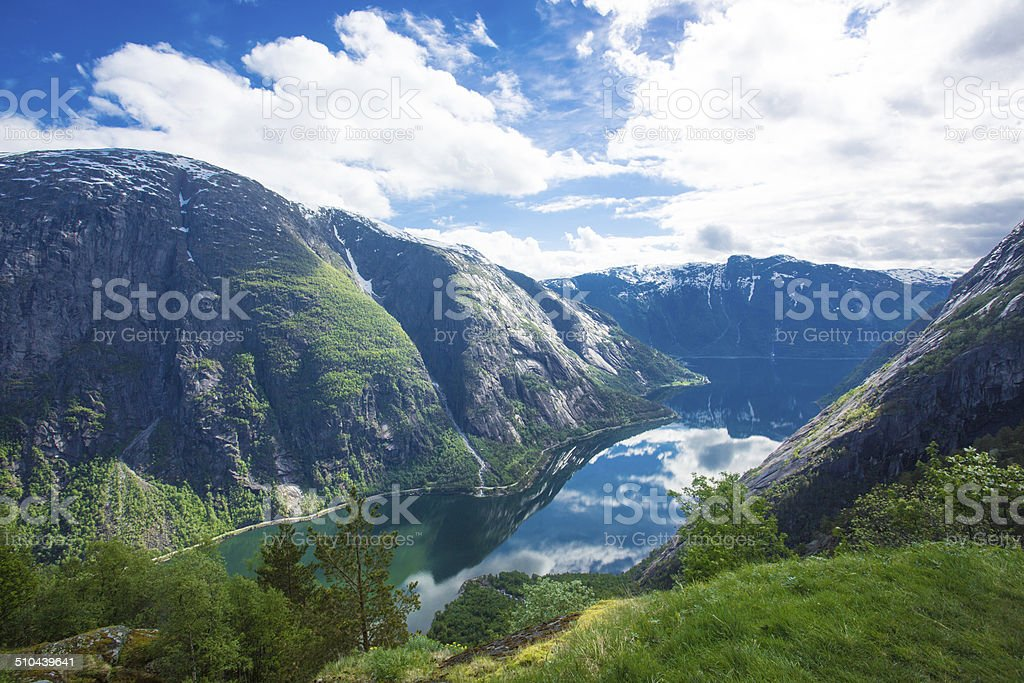 View to Eidfjord from Kjeasen farm stock photo