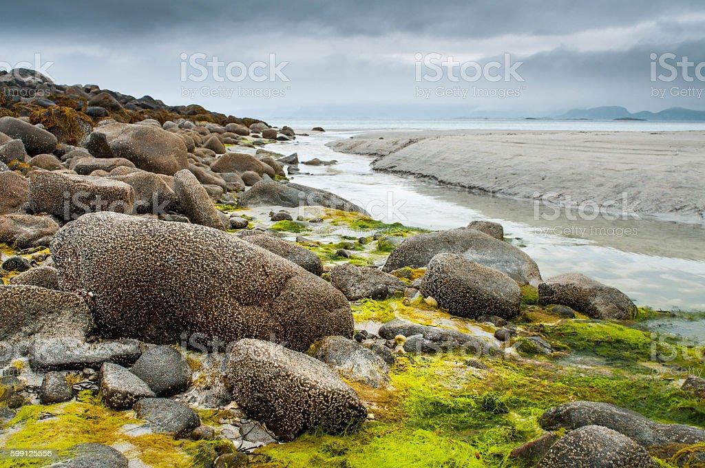 View to empty beach in Norway, Lofoten islands stock photo