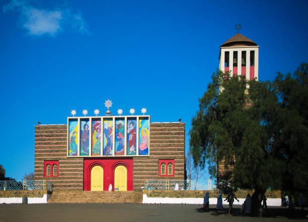 view to enda mariam cathedral, asmara, eritrea - eritrea stock photos and pictures