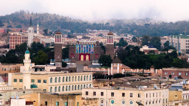 view to enda mariam cathedral at asmara, eritrea - eritrea stock photos and pictures