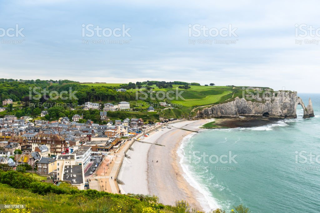 View to Etretat, France from above stock photo
