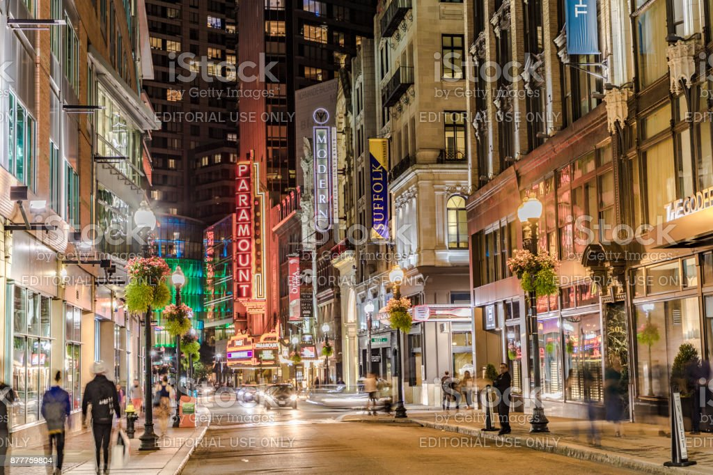 view to famous historic theater district in Boston by night stock photo