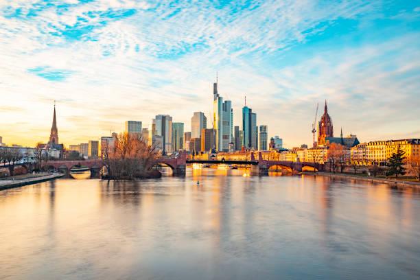 view to frankfurt skyline in sunset stock photo