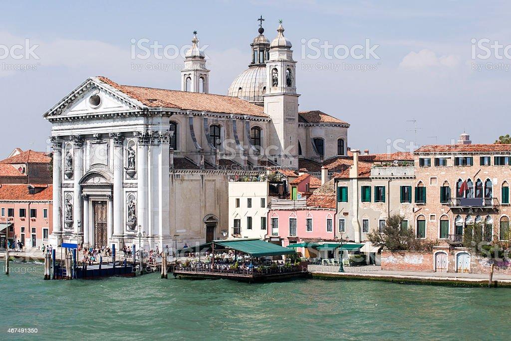 View to Gesuati Quay and Santa Maria del Rosario cathedra stock photo