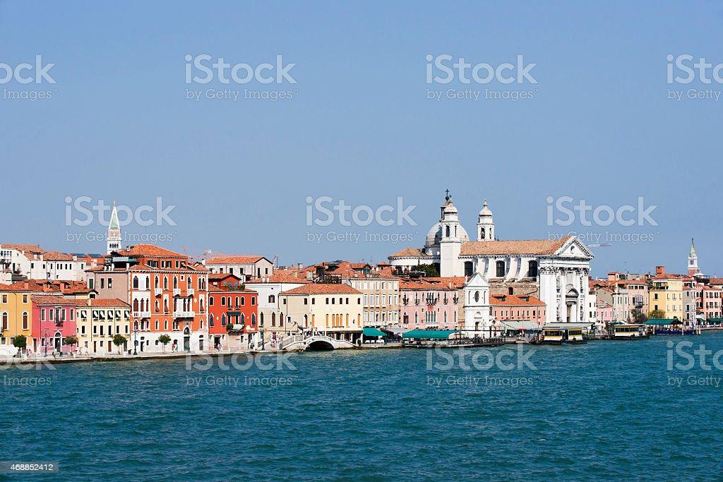 View to Gesuati Quay in summer Venice stock photo