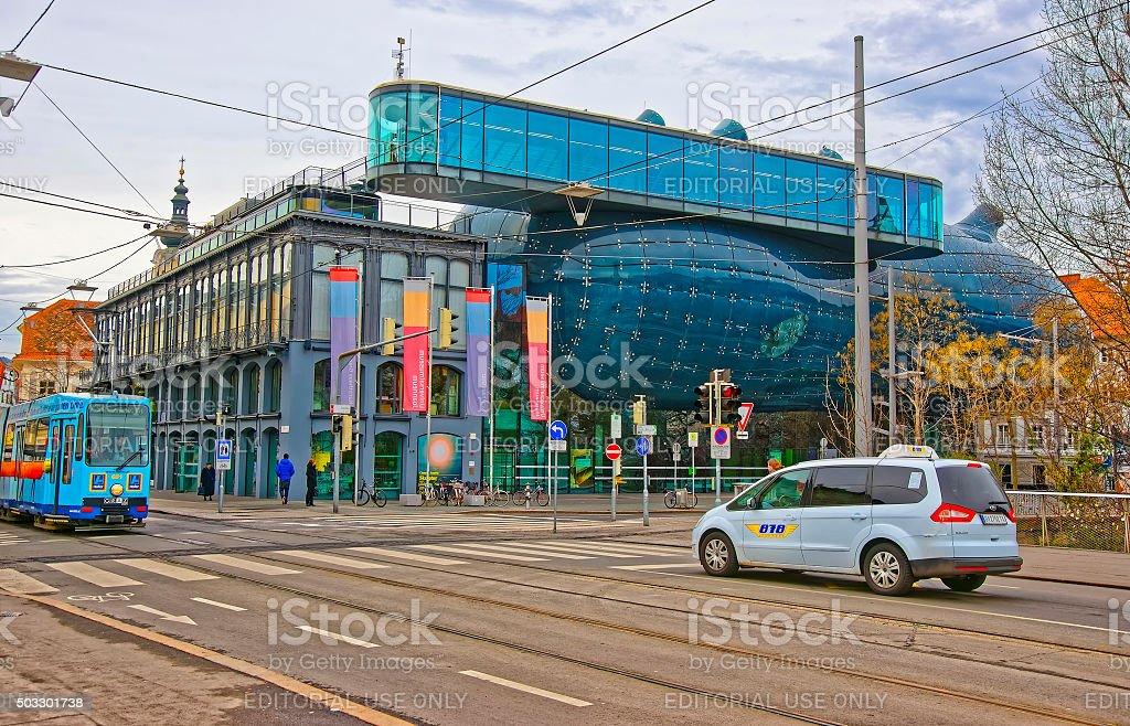 View to Graz Art Museum, car and еram in Graz stock photo