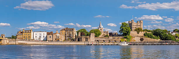 View to historical Rochester across river Medway stock photo