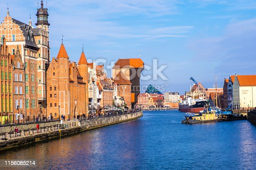 Gdansk, Poland - February 08, 2019: View to historical waterfront of Gdansk's Main Town on the Motlawa River. Gdansk, Poland