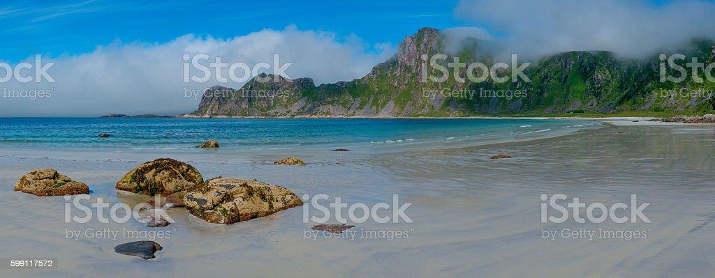View to Hoyvika beach in Norway, Lofoten islands stock photo