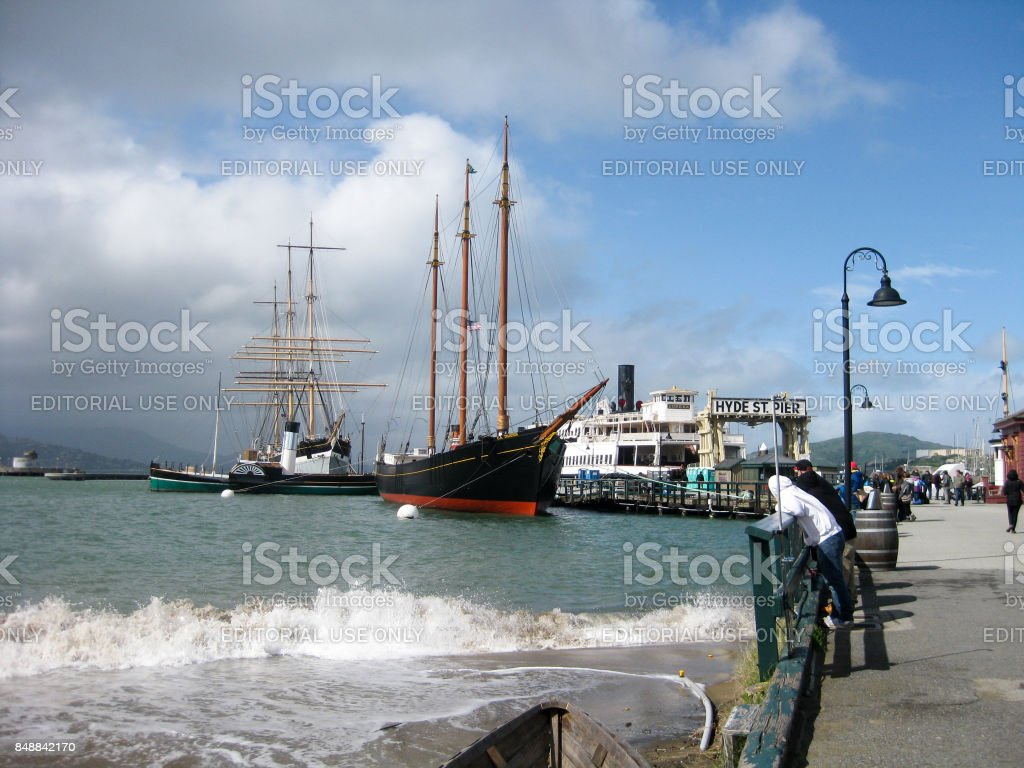 View to Hyde Street Pier in San Francisco stock photo
