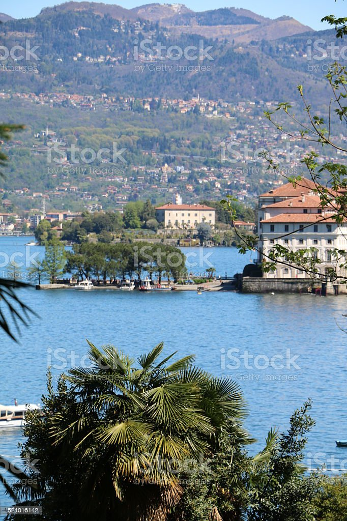 View to Isola Bella and Isola Madre, Lake Maggiore, Italy stock photo