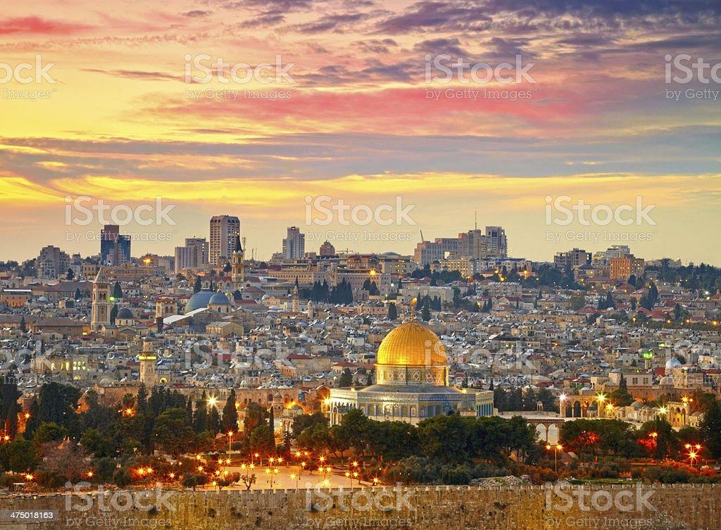 Vista a la ciudad de Jerusalén antigua ciudad.   Israel - foto de stock