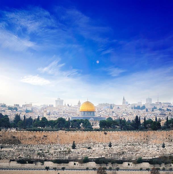 blick auf die altstadt von jerusalem.   israel - jerusalem stock-fotos und bilder