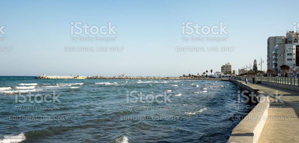 A view to Larnaca embankment and MacKenzie Marina in background, Cyprus stock photo
