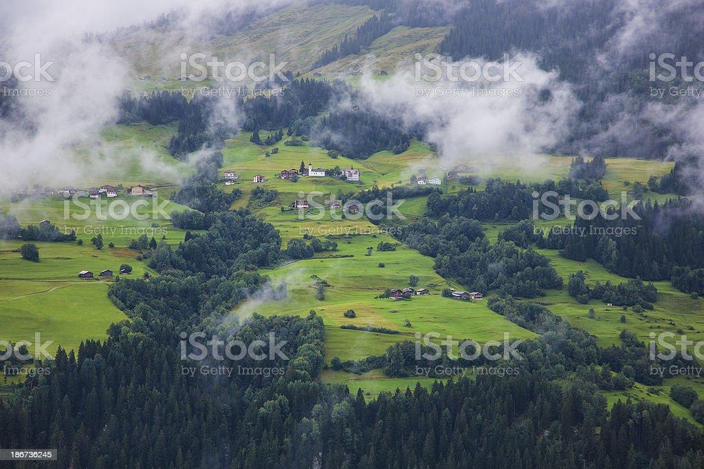 View to little hamlet Obersaxen in Switzerland stock photo