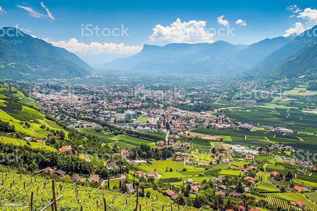 View to Merano South Tirol stock photo